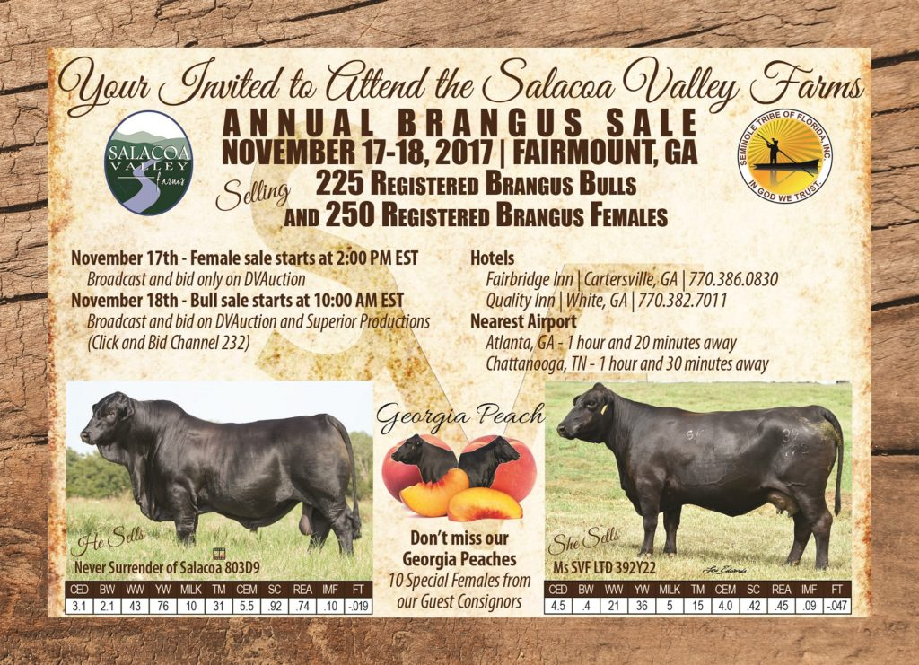 Salacoa Valley Farms Annual Brangus Bull & Female Sale